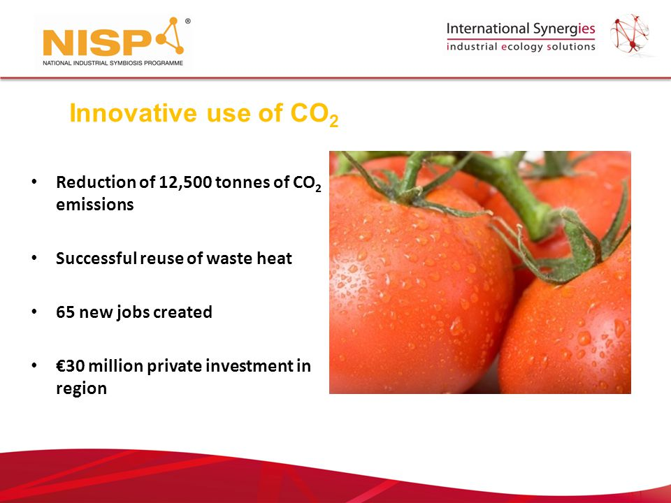 Reduction of 12,500 tonnes of CO 2 emissions Successful reuse of waste heat 65 new jobs created €30 million private investment in region Innovative use of CO 2
