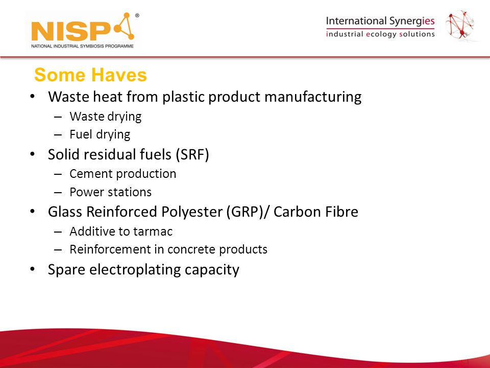Waste heat from plastic product manufacturing – Waste drying – Fuel drying Solid residual fuels (SRF) – Cement production – Power stations Glass Reinforced Polyester (GRP)/ Carbon Fibre – Additive to tarmac – Reinforcement in concrete products Spare electroplating capacity Some Haves