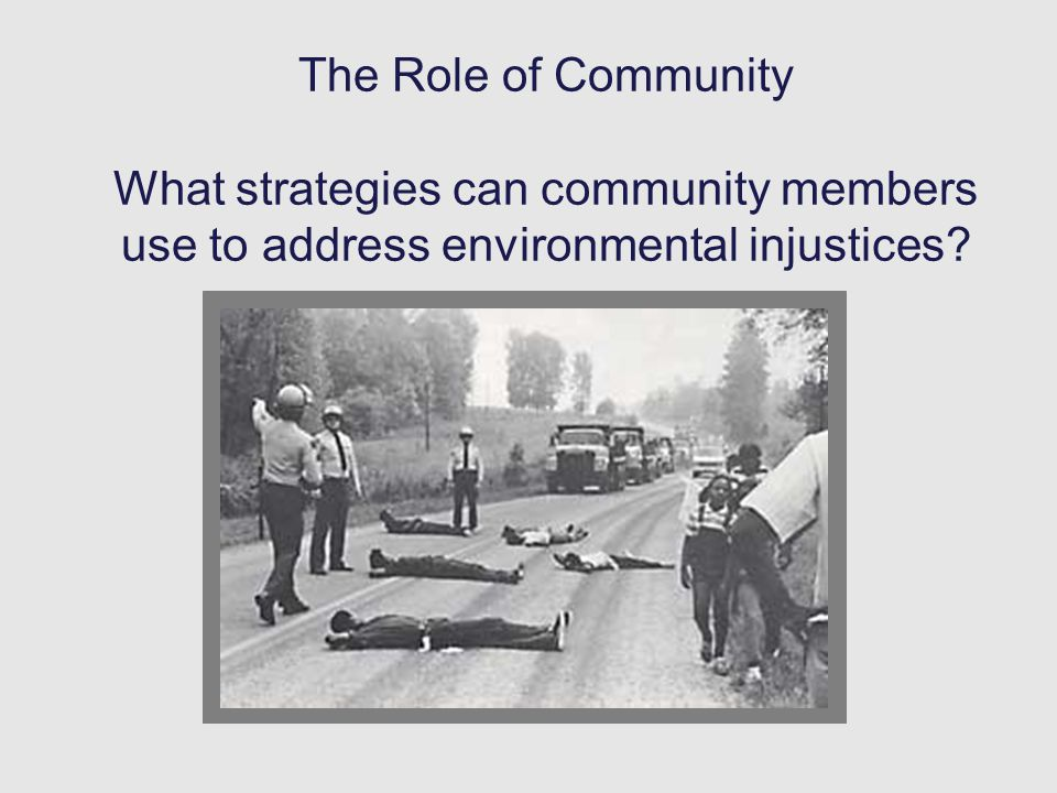 The Role of Community What strategies can community members use to address environmental injustices?