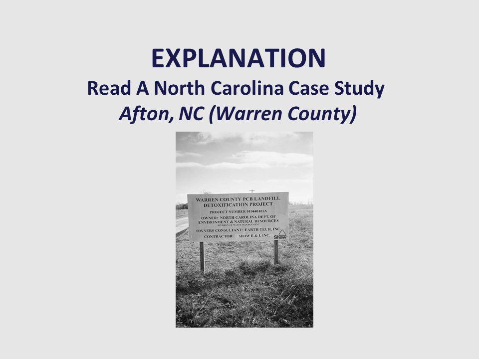 EXPLANATION Read A North Carolina Case Study Afton, NC (Warren County)