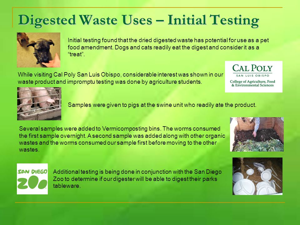 Digested Waste Uses – Initial Testing Initial testing found that the dried digested waste has potential for use as a pet food amendment.