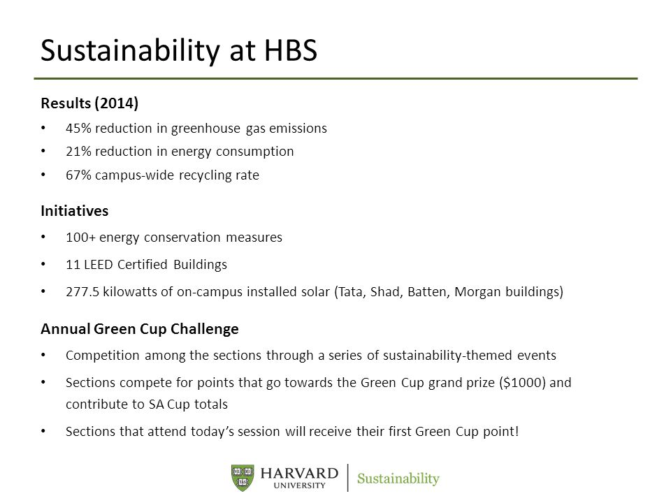 Sustainability at HBS Results (2014) 45% reduction in greenhouse gas emissions 21% reduction in energy consumption 67% campus-wide recycling rate Initiatives 100+ energy conservation measures 11 LEED Certified Buildings 277.5 kilowatts of on-campus installed solar (Tata, Shad, Batten, Morgan buildings) Annual Green Cup Challenge Competition among the sections through a series of sustainability-themed events Sections compete for points that go towards the Green Cup grand prize ($1000) and contribute to SA Cup totals Sections that attend today's session will receive their first Green Cup point!