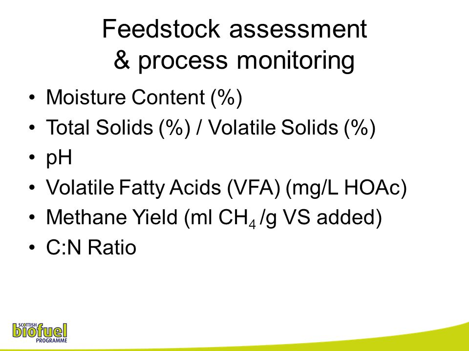 Feedstock assessment & process monitoring Moisture Content (%) Total Solids (%) / Volatile Solids (%) pH Volatile Fatty Acids (VFA) (mg/L HOAc) Methane Yield (ml CH 4 /g VS added) C:N Ratio