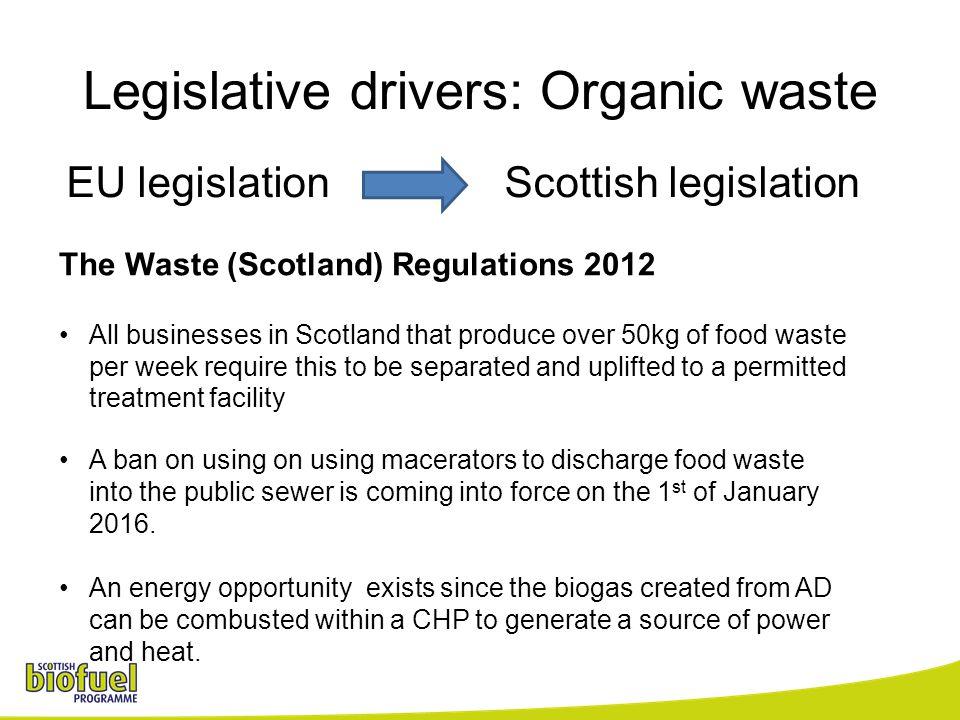 Legislative drivers: Organic waste EU legislation Scottish legislation The Waste (Scotland) Regulations 2012 All businesses in Scotland that produce o