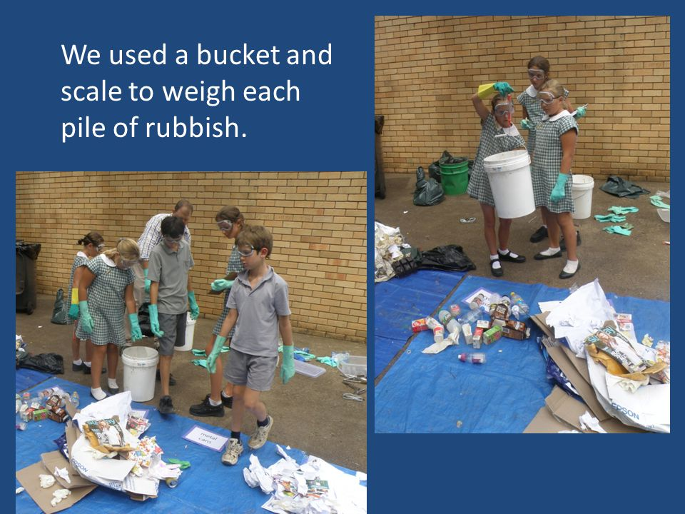 We used a bucket and scale to weigh each pile of rubbish.