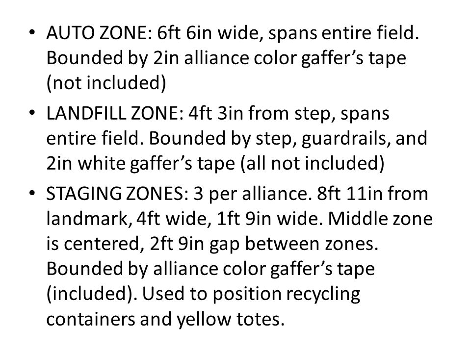 AUTO ZONE: 6ft 6in wide, spans entire field.