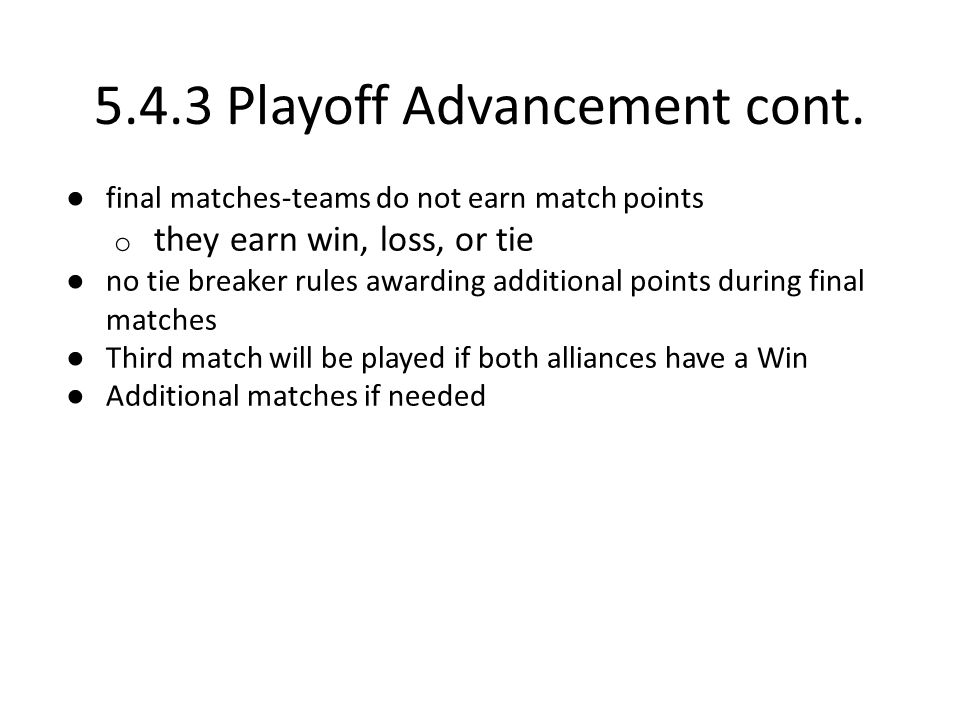 5.4.3 Playoff Advancement cont.