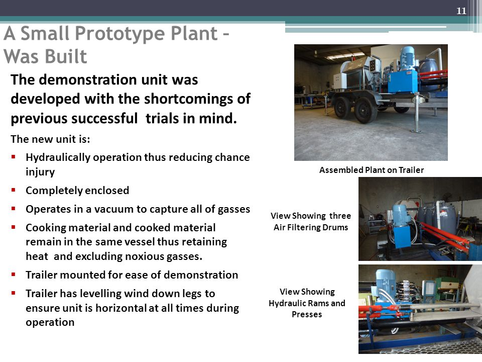 A Small Prototype Plant – Was Built 11 The demonstration unit was developed with the shortcomings of previous successful trials in mind.