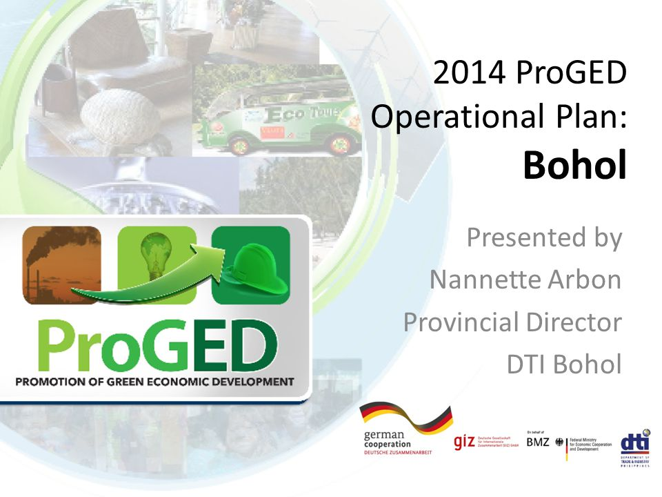 2014 ProGED Operational Plan: Bohol Presented by Nannette Arbon Provincial Director DTI Bohol