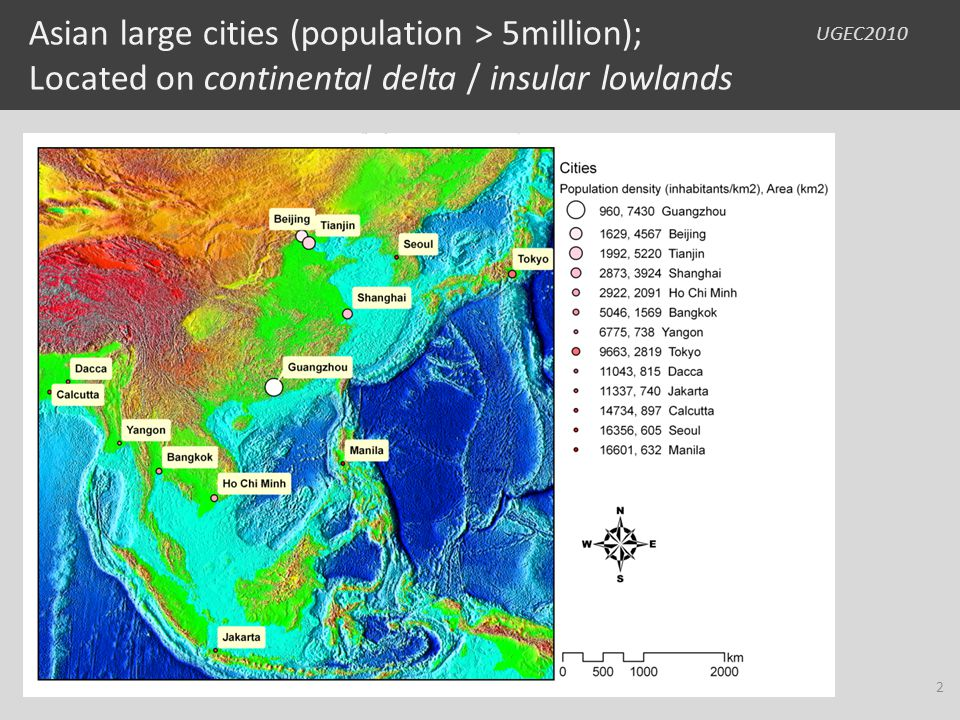 UGEC2010 Asian large cities (population > 5million); Located on continental delta / insular lowlands 2