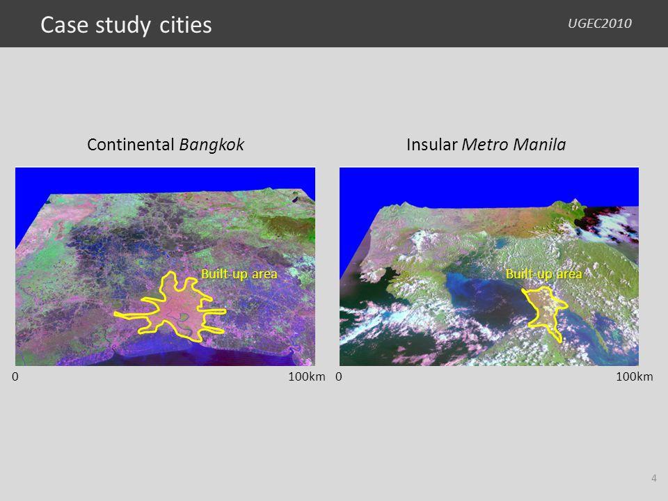 UGEC2010 0100km Built-up area Continental Bangkok Built-up area 0100km Insular Metro Manila Case study cities 4