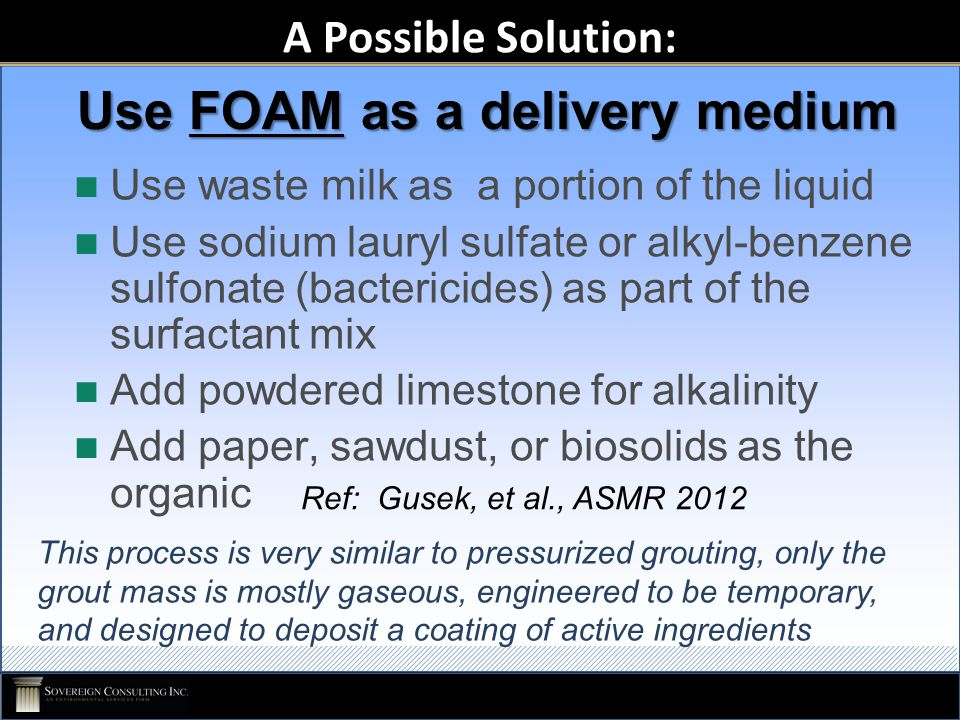 A Possible Solution: Use waste milk as a portion of the liquid Use sodium lauryl sulfate or alkyl-benzene sulfonate (bactericides) as part of the surfactant mix Add powdered limestone for alkalinity Add paper, sawdust, or biosolids as the organic Use FOAM as a delivery medium Use FOAM as a delivery medium This process is very similar to pressurized grouting, only the grout mass is mostly gaseous, engineered to be temporary, and designed to deposit a coating of active ingredients Ref: Gusek, et al., ASMR 2012