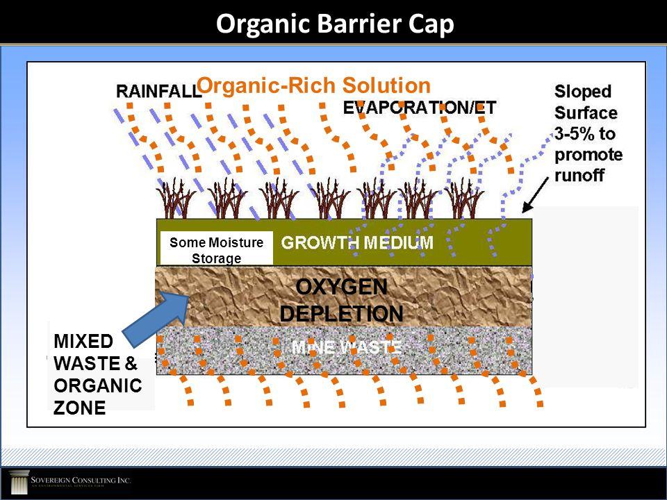 Organic Barrier Cap OXYGEN DEPLETION Some Moisture Storage MIXED WASTE & ORGANIC ZONE Organic-Rich Solution