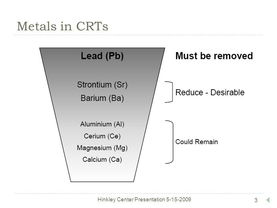 Metals in CRTs Hinkley Center Presentation 5-15-2009 3
