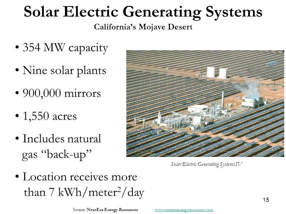 "Solar Electric Generating Systems California's Mojave Desert 354 MW capacity Nine solar plants 900,000 mirrors 1,550 acres Includes natural gas ""back-"