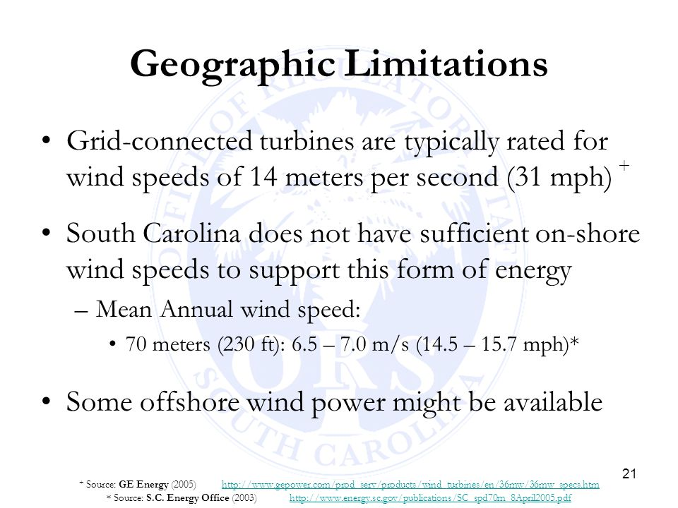 21 Geographic Limitations Grid-connected turbines are typically rated for wind speeds of 14 meters per second (31 mph) + South Carolina does not have
