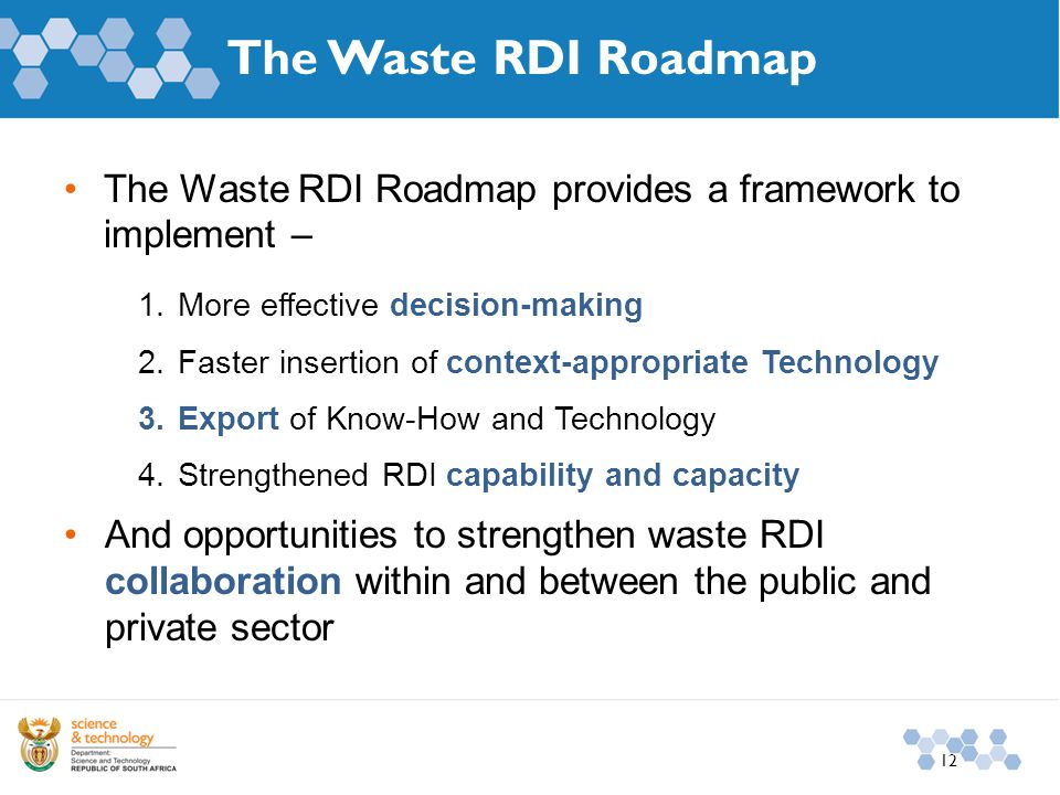 The Waste RDI Roadmap The Waste RDI Roadmap provides a framework to implement – 1.