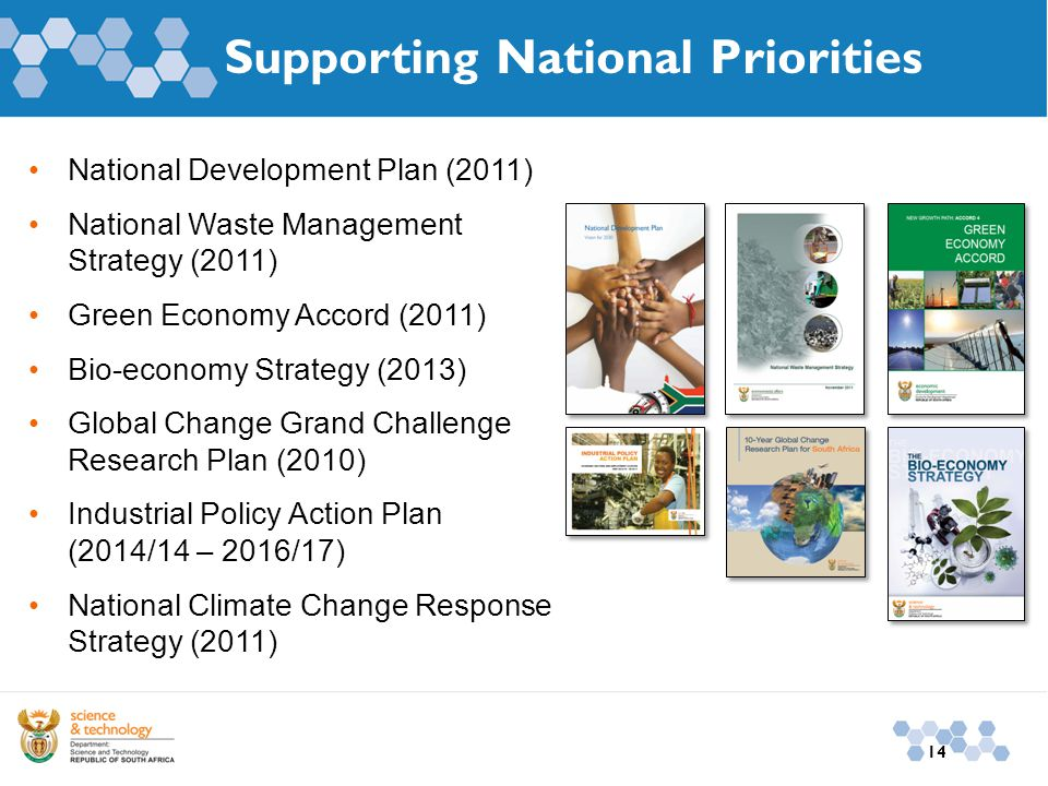 14 Supporting National Priorities National Development Plan (2011) National Waste Management Strategy (2011) Green Economy Accord (2011) Bio-economy S