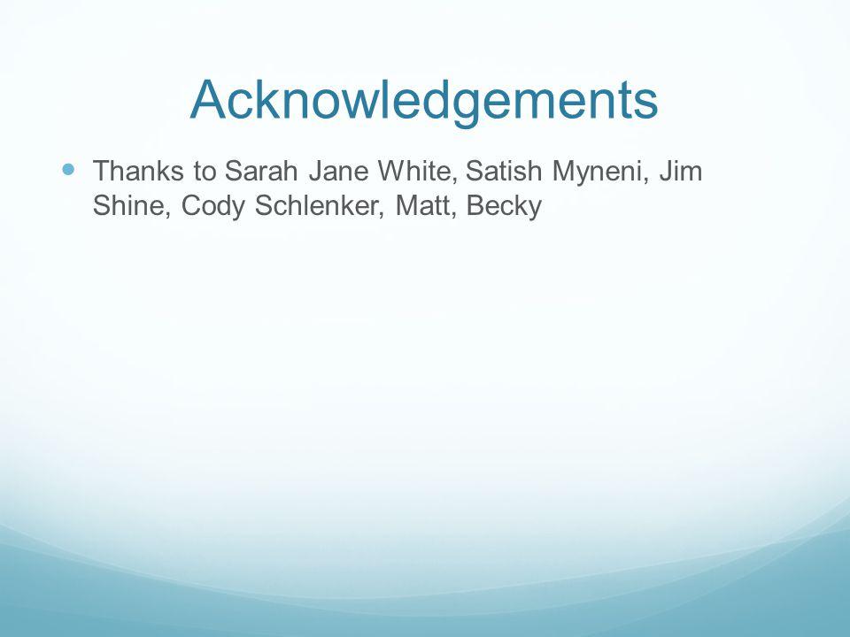 Acknowledgements Thanks to Sarah Jane White, Satish Myneni, Jim Shine, Cody Schlenker, Matt, Becky
