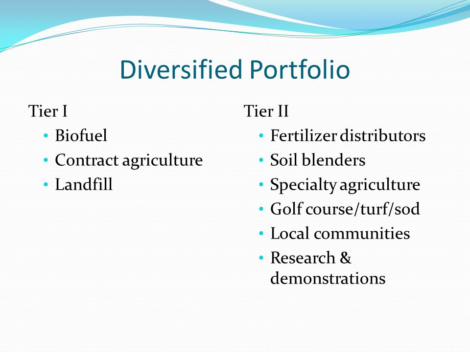 Diversified Portfolio Tier I Biofuel Contract agriculture Landfill Tier II Fertilizer distributors Soil blenders Specialty agriculture Golf course/tur