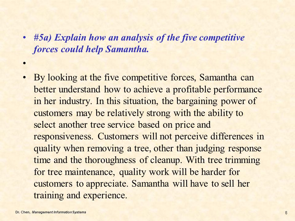 Dr. Chen, Management Information Systems 8 #5a) Explain how an analysis of the five competitive forces could help Samantha. By looking at the five com