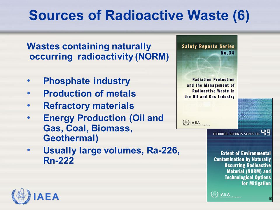 IAEA Sources of Radioactive Waste (6) Wastes containing naturally occurring radioactivity (NORM) Phosphate industry Production of metals Refractory ma