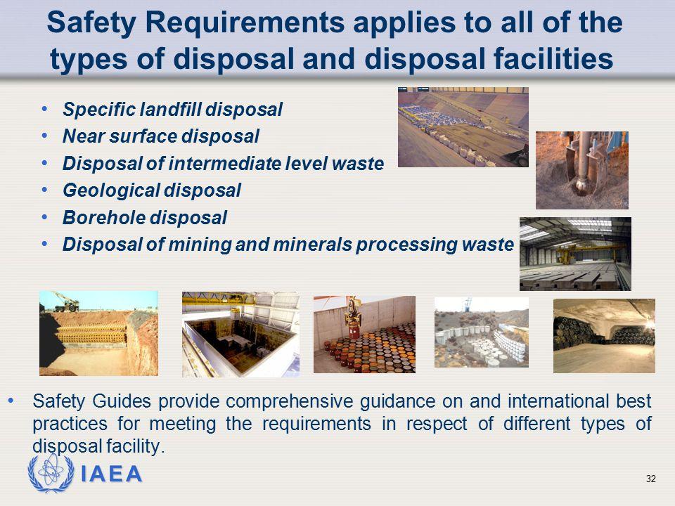 IAEA Specific landfill disposal Near surface disposal Disposal of intermediate level waste Geological disposal Borehole disposal Disposal of mining an