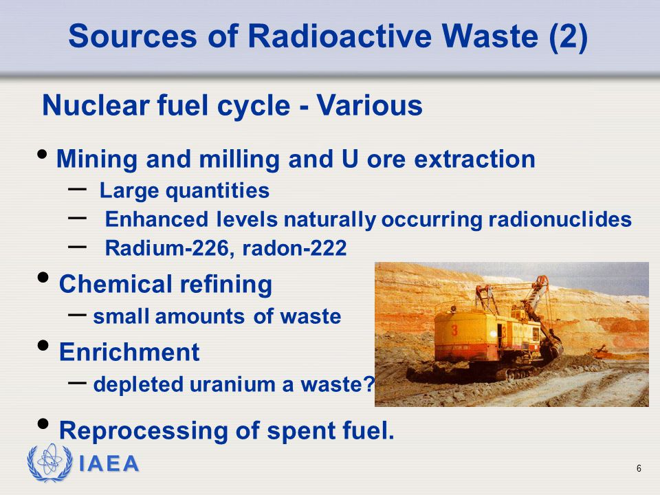 IAEA Nuclear fuel cycle - Various Mining and milling and U ore extraction – Large quantities – Enhanced levels naturally occurring radionuclides – Rad