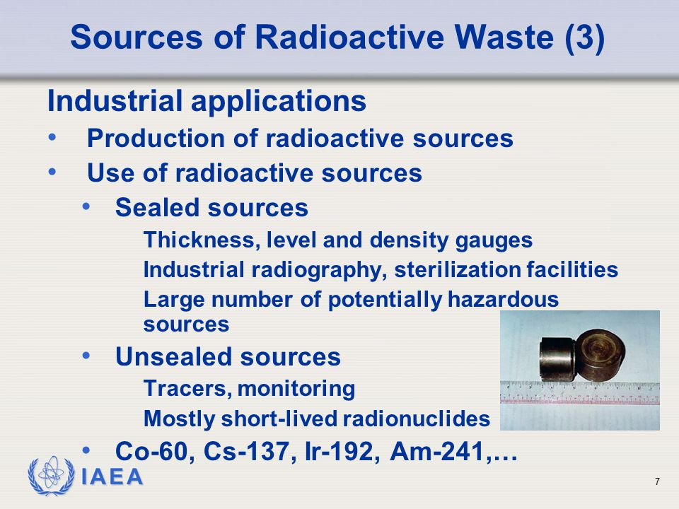 IAEA Summary of IAEA System GSG - 1 In the classification scheme, the following options for management of radioactive waste are considered, with an increasing degree of containment and isolation in the long term: —Exemption or clearance; —Storage for decay; —Disposal in engineered surface landfill type facilities; —Disposal in engineered facilities such as trenches, vaults or shallow boreholes, at the surface or at depths down to a few tens of metres; —Disposal in engineered facilities at intermediate depths between a few tens of metres and several hundred metres (including existing caverns) and disposal in boreholes of small diameter; —Disposal in engineered facilities located in deep stable geological formations at depths of a few hundred metres or more.