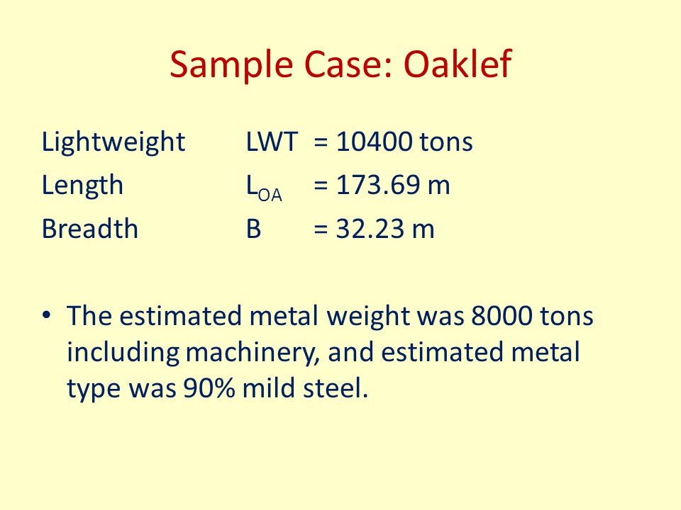 Sample Case: Oaklef LightweightLWT= 10400 tons Length L OA = 173.69 m BreadthB = 32.23 m The estimated metal weight was 8000 tons including machinery,