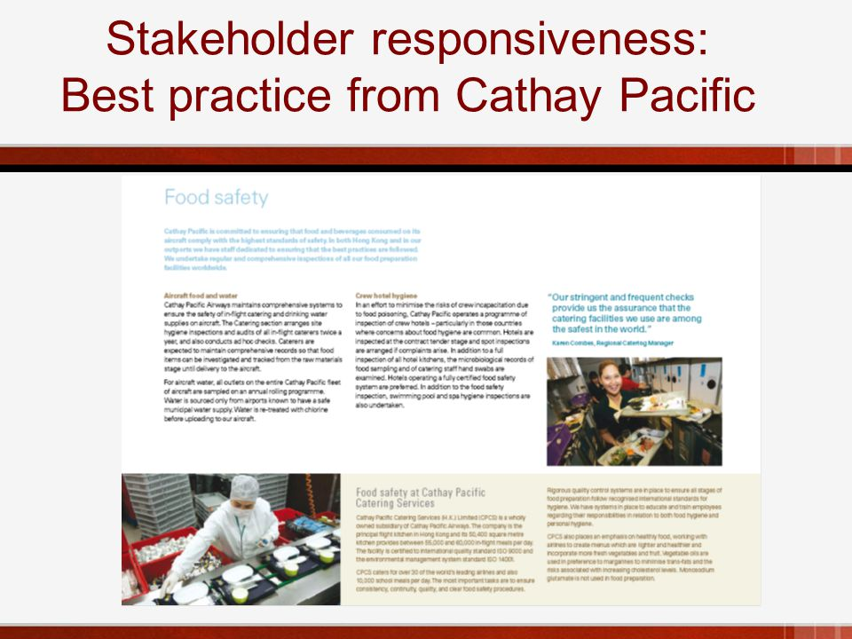 Stakeholder responsiveness: Best practice from Cathay Pacific