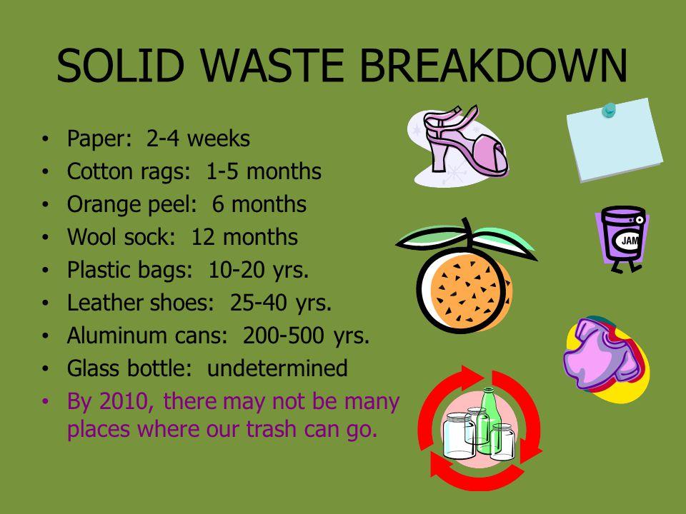 SOLID WASTE BREAKDOWN Paper: 2-4 weeks Cotton rags: 1-5 months Orange peel: 6 months Wool sock: 12 months Plastic bags: 10-20 yrs. Leather shoes: 25-4