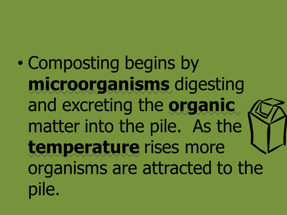 Composting begins by microorganisms digesting and excreting the organic matter into the pile. As the temperature rises more organisms are attracted to