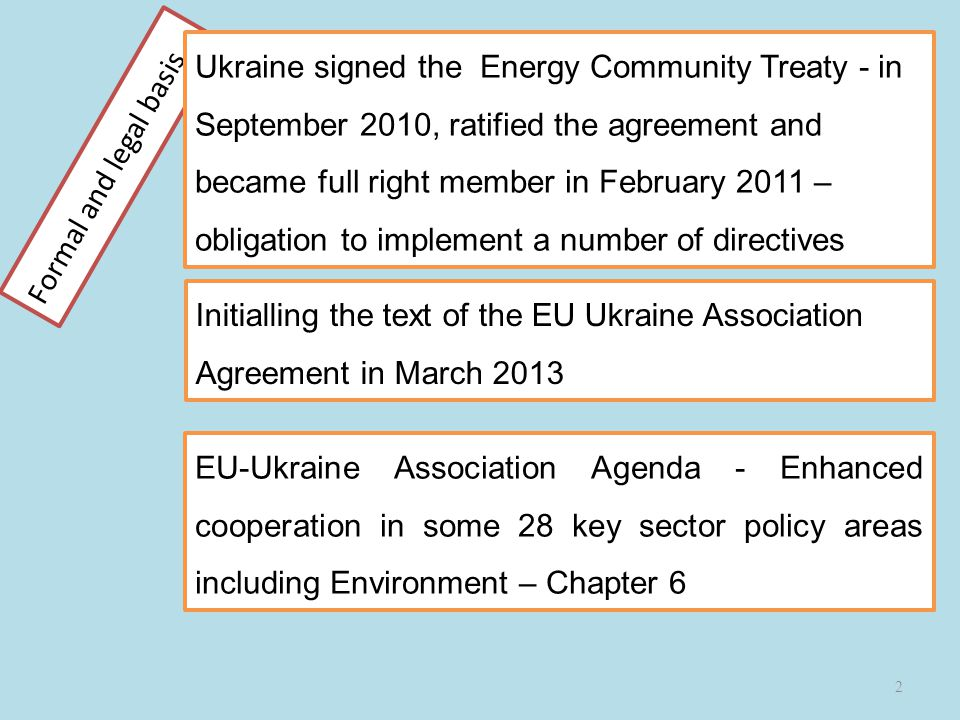 Formal and legal basis 2 EU-Ukraine Association Agenda - Enhanced cooperation in some 28 key sector policy areas including Environment – Chapter 6 Ukraine signed the Energy Community Treaty - in September 2010, ratified the agreement and became full right member in February 2011 – obligation to implement a number of directives Initialling the text of the EU Ukraine Association Agreement in March 2013