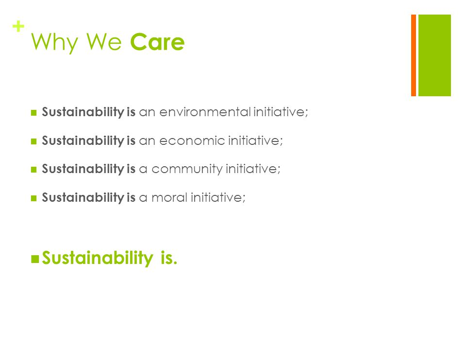 + Why We Care Sustainability is an environmental initiative; Sustainability is an economic initiative; Sustainability is a community initiative; Sustainability is a moral initiative; Sustainability is.