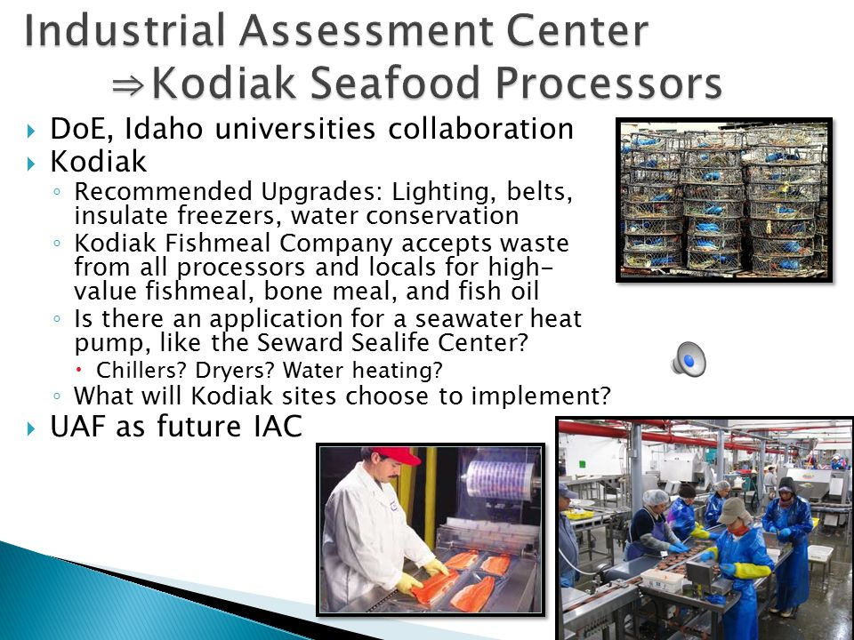  DoE, Idaho universities collaboration  Kodiak ◦ Recommended Upgrades: Lighting, belts, insulate freezers, water conservation ◦ Kodiak Fishmeal Company accepts waste from all processors and locals for high- value fishmeal, bone meal, and fish oil ◦ Is there an application for a seawater heat pump, like the Seward Sealife Center.
