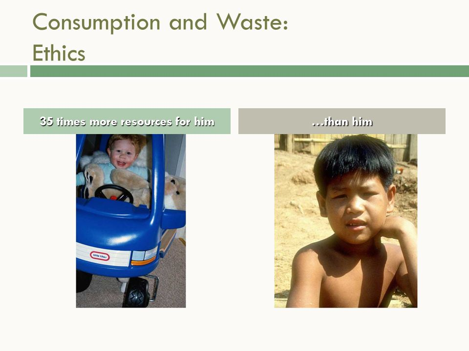 Consumption and Waste: Ethics 35 times more resources for him …than him
