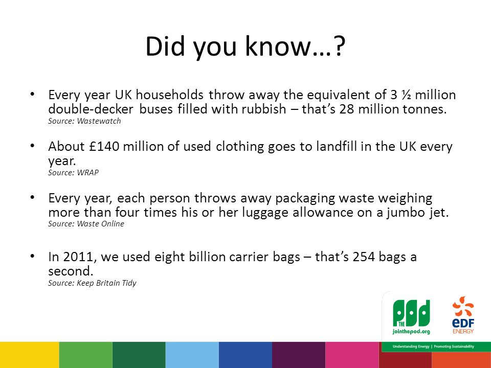 Did you know…? Every year UK households throw away the equivalent of 3 ½ million double-decker buses filled with rubbish – that's 28 million tonnes. S
