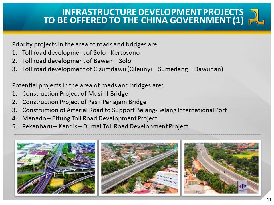 INFRASTRUCTURE DEVELOPMENT PROJECTS TO BE OFFERED TO THE CHINA GOVERNMENT (1) Priority projects in the area of roads and bridges are: 1.Toll road deve