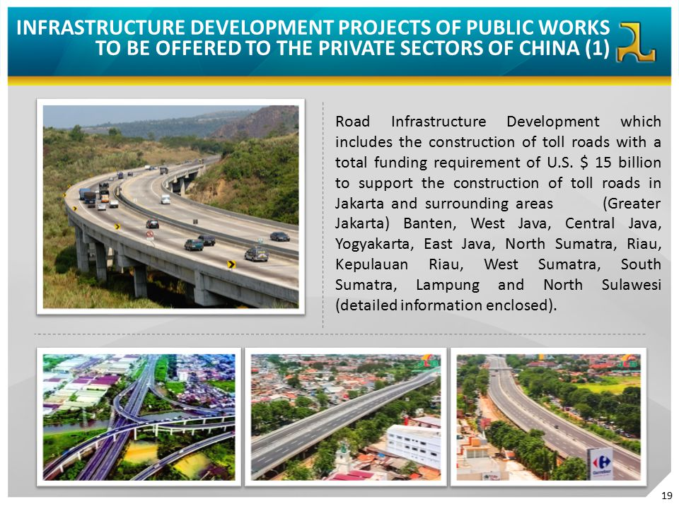 INFRASTRUCTURE DEVELOPMENT PROJECTS OF PUBLIC WORKS TO BE OFFERED TO THE PRIVATE SECTORS OF CHINA (1) Road Infrastructure Development which includes t