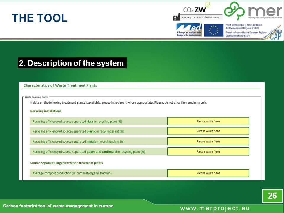 2. Description of the system 26 Carbon footprint tool of waste management in europe THE TOOL
