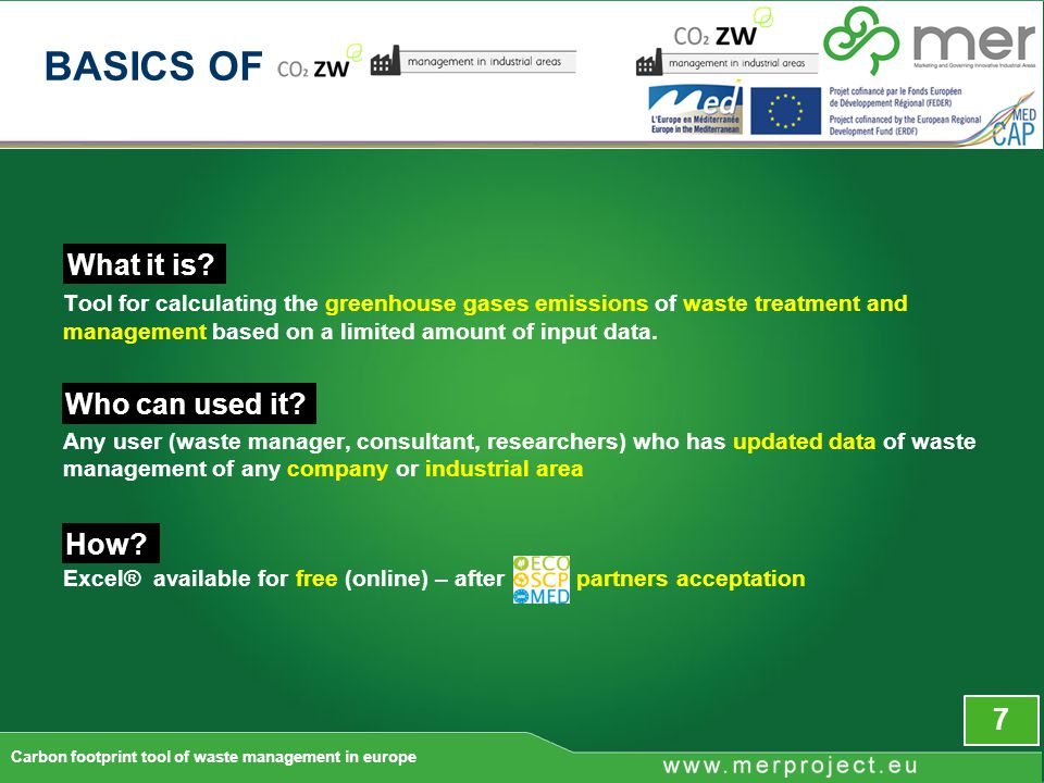 38 Results screen Carbon footprint tool of waste management in europe THE TOOL