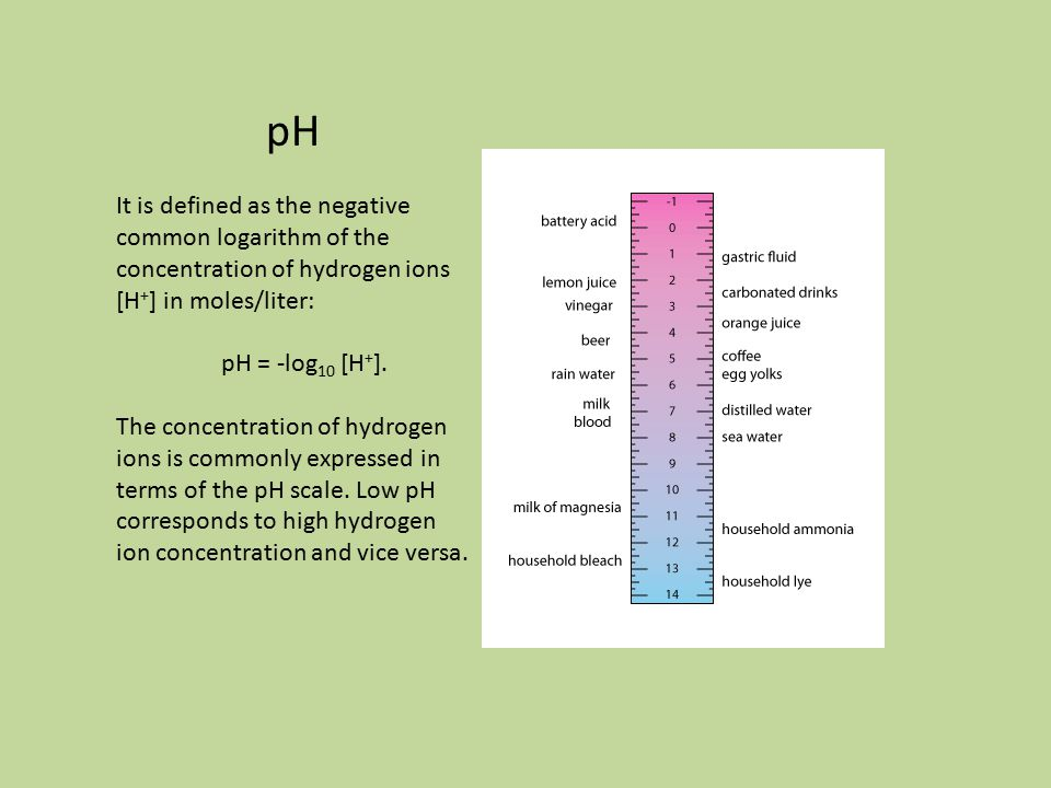 pH It is defined as the negative common logarithm of the concentration of hydrogen ions [H + ] in moles/liter: pH = -log 10 [H + ].