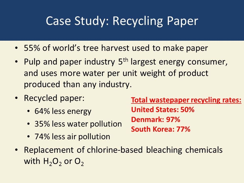 Case Study: Recycling Paper 55% of world's tree harvest used to make paper Pulp and paper industry 5 th largest energy consumer, and uses more water p
