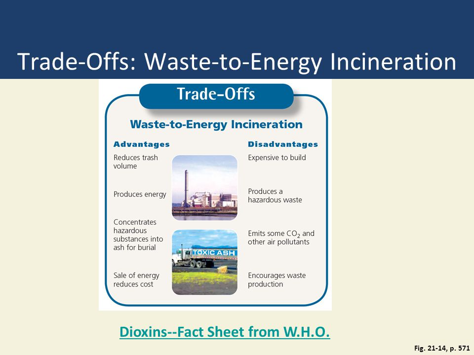 Trade-Offs: Waste-to-Energy Incineration Fig. 21-14, p. 571 Dioxins--Fact Sheet from W.H.O.