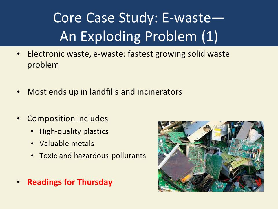 Core Case Study: E-waste— An Exploding Problem (1) Electronic waste, e-waste: fastest growing solid waste problem Most ends up in landfills and incine