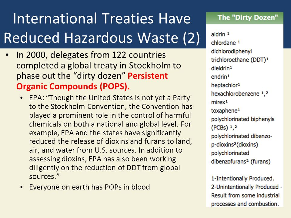 International Treaties Have Reduced Hazardous Waste (2) In 2000, delegates from 122 countries completed a global treaty in Stockholm to phase out the