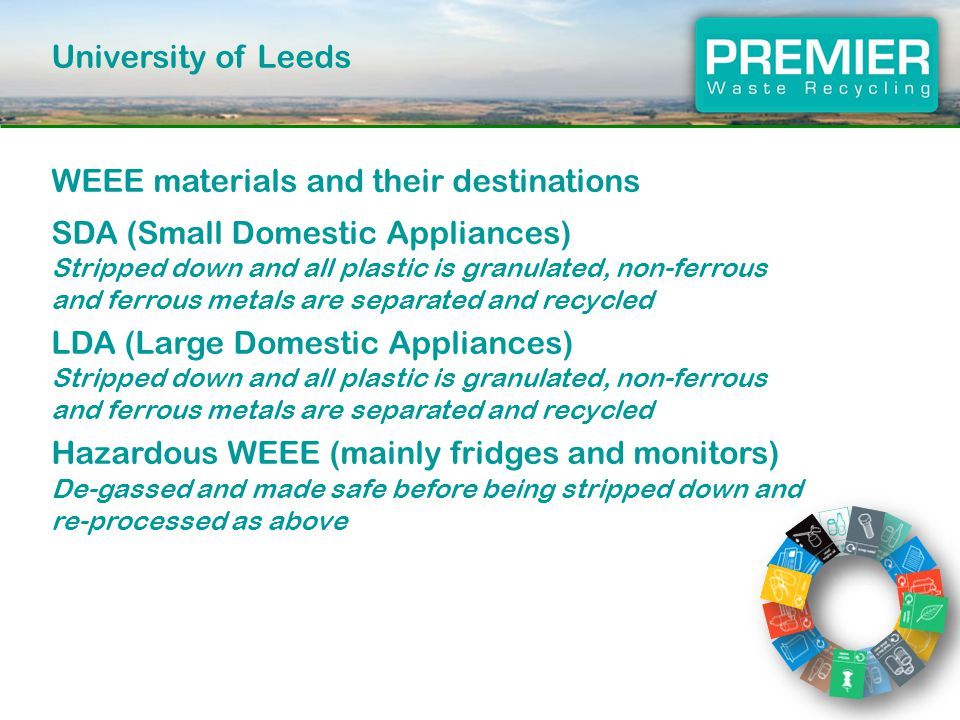 University of Leeds WEEE materials and their destinations SDA (Small Domestic Appliances) Stripped down and all plastic is granulated, non-ferrous and ferrous metals are separated and recycled LDA (Large Domestic Appliances) Stripped down and all plastic is granulated, non-ferrous and ferrous metals are separated and recycled Hazardous WEEE (mainly fridges and monitors) De-gassed and made safe before being stripped down and re-processed as above