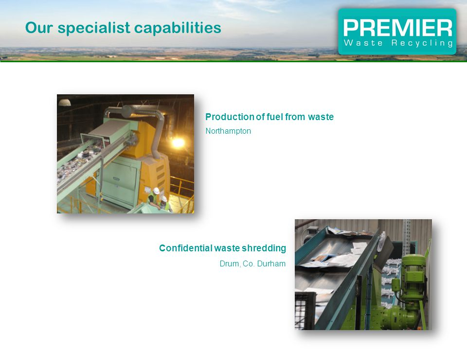 Production of fuel from waste Northampton Confidential waste shredding Drum, Co.