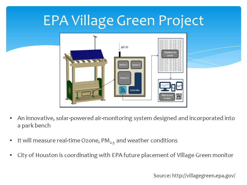 EPA Village Green Project An innovative, solar-powered air-monitoring system designed and incorporated into a park bench It will measure real-time Ozone, PM 2.5 and weather conditions City of Houston is coordinating with EPA future placement of Village Green monitor Source: http://villagegreen.epa.gov/